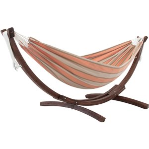 Vivere Double Sunbrella Hammock - with Solid Pine Arc Stand - Cameo