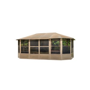 Gazebo Penguin Florence Solarium with Metal Roof 12-ft x 18-ft - Sand