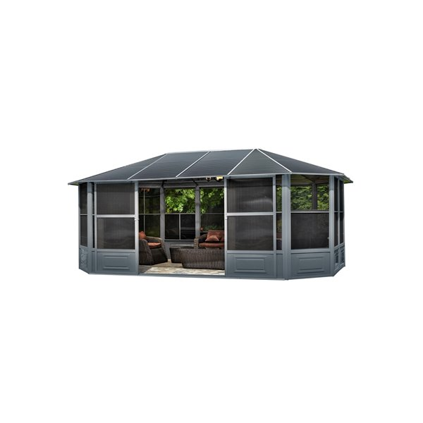 Gazebo Penguin Florence Solarium with Metal Roof 12-ft x 18-ft - Slate