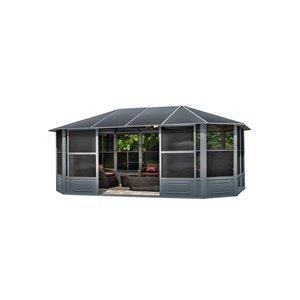 Solarium Florence de Gazebo Penguin avec toit en métal 12 pi x 18 pi, ardoise