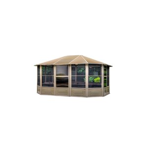 Gazebo Penguin Florence Solarium with Metal Roof 12-ft x 15-ft - Sand