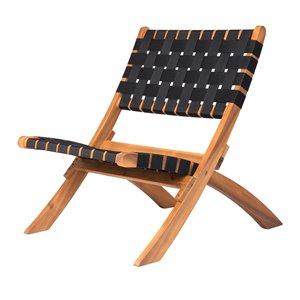 Chaise pliante en nylon tissé de Patioflare, fini naturel