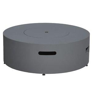 Paramount Concrete-Look Aluminum Round Fire Table - 38.19-in - 55,000 BTU- Concrete Gray