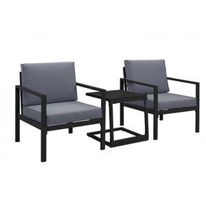 Patioflare Sam 3-Piece Aluminum Chat Set - 4 Cushions - Black