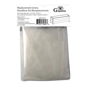 Doublure de remplacement pour PL10004 de Grapevine, plastique, long rectangle, 11,42 po x 55,04 po x 10,63 po, clair