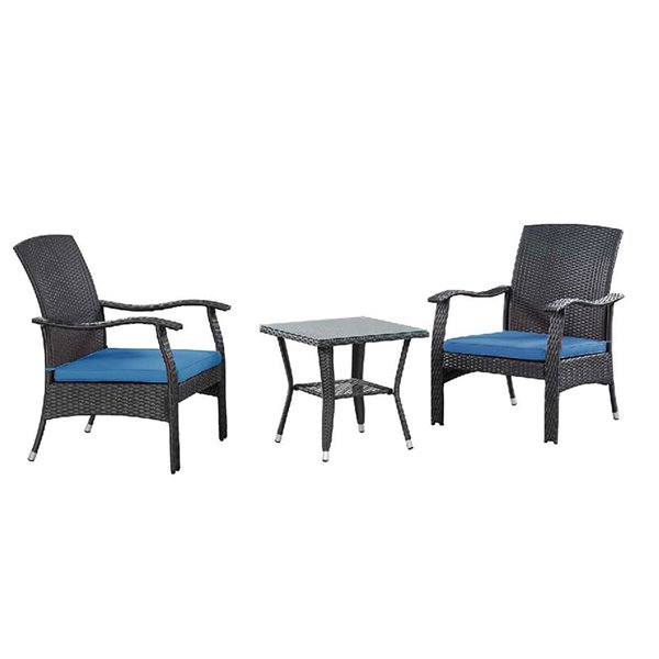 Patioflare Whylie 3-Piece Wicker Chat Set - 2 Cushions - Blue