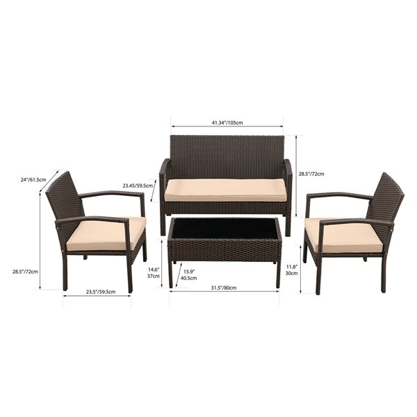 Patioflare Ivan 4-Piece Conversation Set - 3 Cushions - Brown and Beige