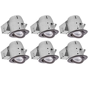 Nadair LED Swivel Recessed Lights - 6 Pack- 4-in