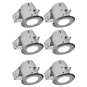 Nadair LED Swivel Recessed Round Shower Lights - 6 Pack - 4-in