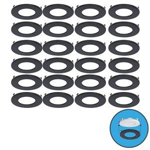 Garniture de couleur pour luminaires Ultra Mince de Nadair, 24 pieces, noir