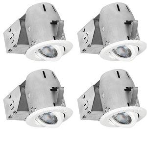 Nadair LED Swivel Recessed Lights - 4 Pack - 3-in - Brushed Nickel