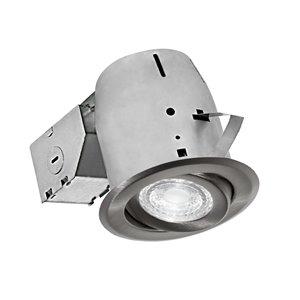Nadair LED Swivel Round Recessed Lights - 4-in - Brushed Nickel
