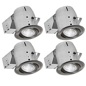 Luminaires encastrés à DEL pivotants de Nadair, 4 mcx, 4 po, nickel brossé