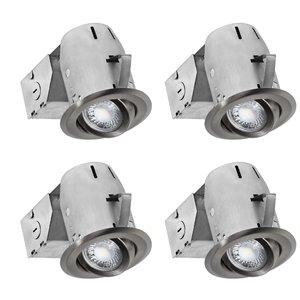 Nadair LED Swivel Recessed Lights - 4 Pack- 3-in - Brushed Nickel