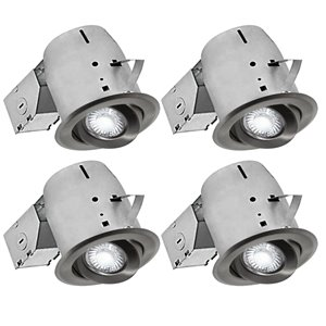 Nadair LED Swivel Recessed Lights - 4 Pack - 4-in - Brushed Nickel