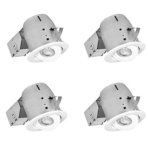 Nadair LED Swivel Recessed Lights - 4 Pack - 4-in - White
