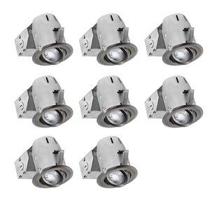 Nadair LED Swivel Recessed Lights - 8 Pack - 3-in - Brushed Nickel