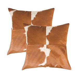 Natural by Lifestyle Torino Cowhide Quattro 2-Piece Brown and White 18-in x 18-in Square Indoor Decorative Pillow