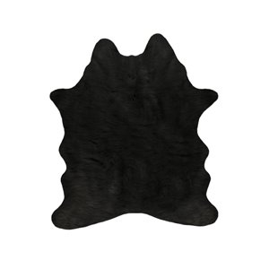 Tapis intérieur en faux cuir de vache fait à la machine Luxe de Lifestyle, 5,25 po x 7,5 po, noir