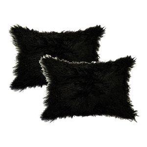 Oreillers rectangulaires en peau de mouton mongol de Natural de Lifestyle, 12 po x 20 po, noir, 2 mcx