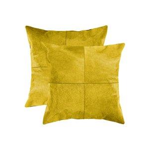 Oreillers carrés en peau de vache Torino Quattro de Natural de Lifestyle, 18 po x 18 po, jaune, 2 mcx