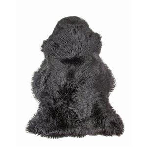 Tapis décoratif intérieur en peau de mouton fait à la main Milan Natural de Lifestyle, 2 po x 3 po, noir