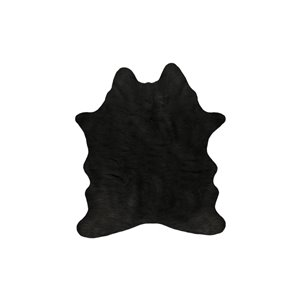 Lifestyle Faux Cowhide Black Indoor Machine-Made Area Rug - 4.25-in x 5-in
