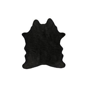 Tapis intérieur en faux cuir de vache fait à la machine Luxe de Lifestyle, 4,25 po x 5 po, noir
