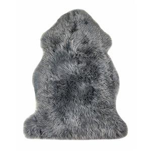 Tapis intérieur en peau de mouton fait à la main Milan Natural de Lifestyle, 2 po x 3 po, platine