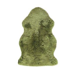 Tapis décoratif intérieur en peau de mouton fait à la main Milan Natural de Lifestyle, 2 po x 3 po, lime