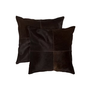 Natural by Lifestyle Torino Cowhide Quattro 2-Piece Chocolate 18-in x 18-in Square Indoor Decorative Pillow