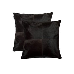Natural by Lifestyle Torino Cowhide Quattro 2-Piece Brown 18-in x 18-in Square Indoor Decorative Pillow