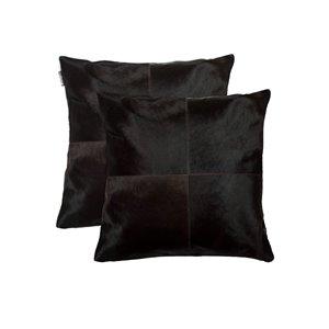 Oreillers carrés en peau de vache Torino Quattro de Natural de Lifestyle, 18 po x 18 po, marron, 2 mcx