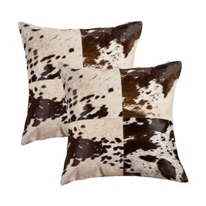 Natural by Lifestyle Torino Cowhide Quattro 2-Piece SandP Chocolate/White 18-in x 18-in Square Indoor Decorative Pillow
