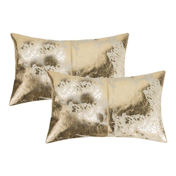 Oreillers rectangulaires en peau de vache Torino Scotland de Natural de Lifestyle, 12 po x 20 po, naturel et or, 2 mcx