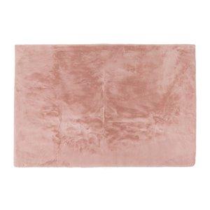 Tapis décoratif intérieur en faux lapin fait à la machine Luxe de Lifestyle, 5 po x 8 po, rose fleur