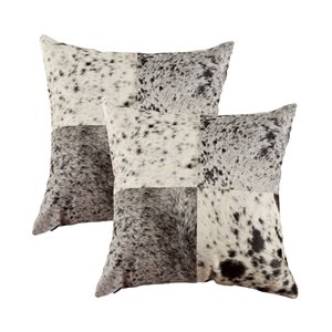 Oreillers carrés en peau de vache Torino Quattro de Natural de Lifestyle, 18 po x 18 po, noir/blanc, 2 mcx