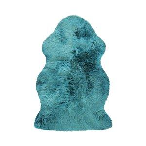 Tapis intérieur en peau de mouton fait à la main Milan Natural de Lifestyle, 2 po x 3 po, bleu acier