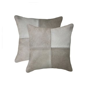 Natural by Lifestyle Torino Cowhide Quattro 2-Piece Gray 18-in x 18-in Square Indoor Decorative Pillow