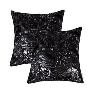 Oreillers carrés en peau de vache Torino Chevron de Natural de Lifestyle, 18 po x 18 po, noir argent, 2 mcx