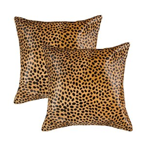 Natural by Lifestyle Torino Cowhide Togo 2-Piece Cheetah 18-in x 18-in Square Indoor Decorative Pillow