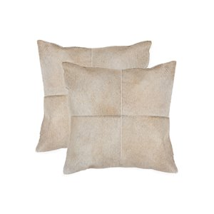 Natural by Lifestyle Torino Cowhide Quattro 2-Piece Natural 18-in x 18-in Square Indoor Decorative Pillow