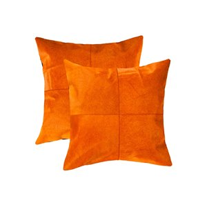 Natural by Lifestyle Torino Cowhide Quattro 2-Piece Orange 18-in x 18-in Square Indoor Decorative Pillow