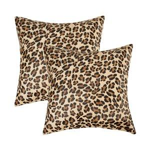 Oreillers carrés en peau de vache Torino Togo de Natural de Lifestyle, 18 po x 18 po, léopard, 2 mcx