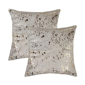Natural by Lifestyle Torino Cowhide Quattro 2-Piece Natural and Gold 18-in x 18-in Square Indoor Decorative Pillow