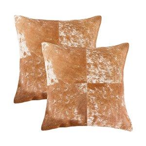 Oreillers carrés en peau de vache Torino Quattro de Natural de Lifestyle, 18 po x 18 po, marron/blanc, 2 mcx