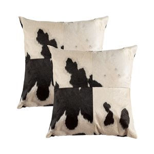Natural by Lifestyle Torino Cowhide Quattro 2-Piece Black/White 18-in x 18-in Square Indoor Decorative Pillow