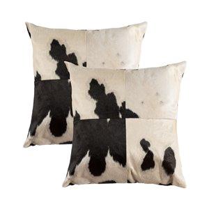 Oreillers carrés en peau de vache Torino Quattro de Natural de Lifestyle, 18 po x 18 po, noir blanc, 2 mcx