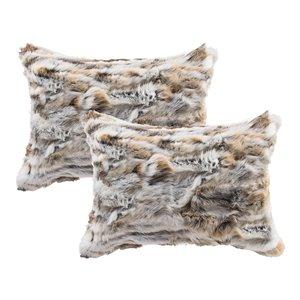 Oreillers rectangulaires en fourrure de lapin de Natural de Lifestyle, 12 po x 20 po, brun/blanc, 2 mcx