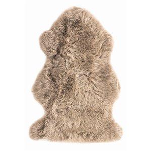 Tapis décoratif intérieur en peau de mouton fait à la main Milan Natural de Lifestyle, 2 po x 3 po, vole